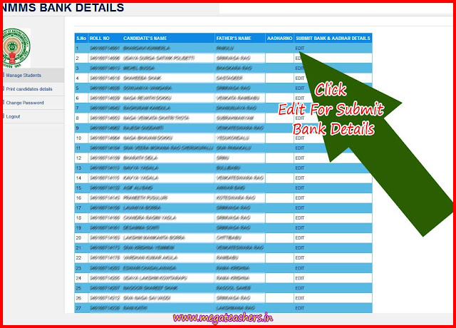 NMMS NOV-2016 Selected Candidates Uploading Bank Deatails Edit Screen