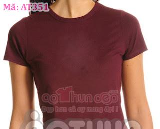 Áo Thun Đồng Phục Cổ Tròn Nữ Màu Đỏ Đô Mã AT351