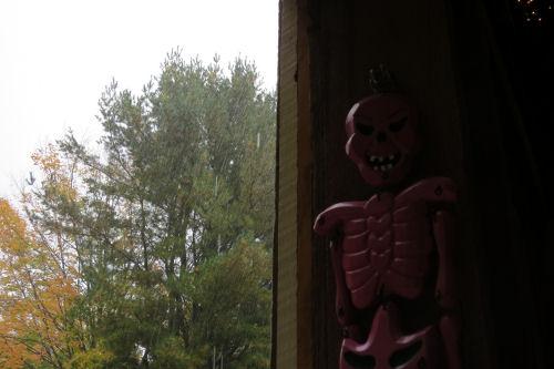 Halloween decoration in the rain