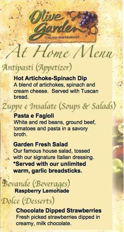 Italian Food Menu Copy And Paste