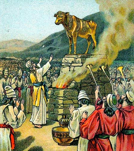 Worshiping the Golden Calf - Artist unknown