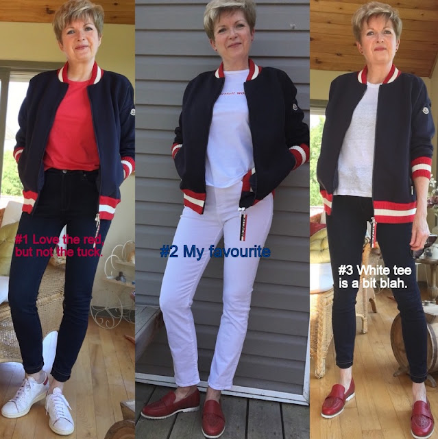 three shots of a woman in navy baseball jacket in blue jeans and red tee, white jeans and white tee, and blue jeans and white tee.