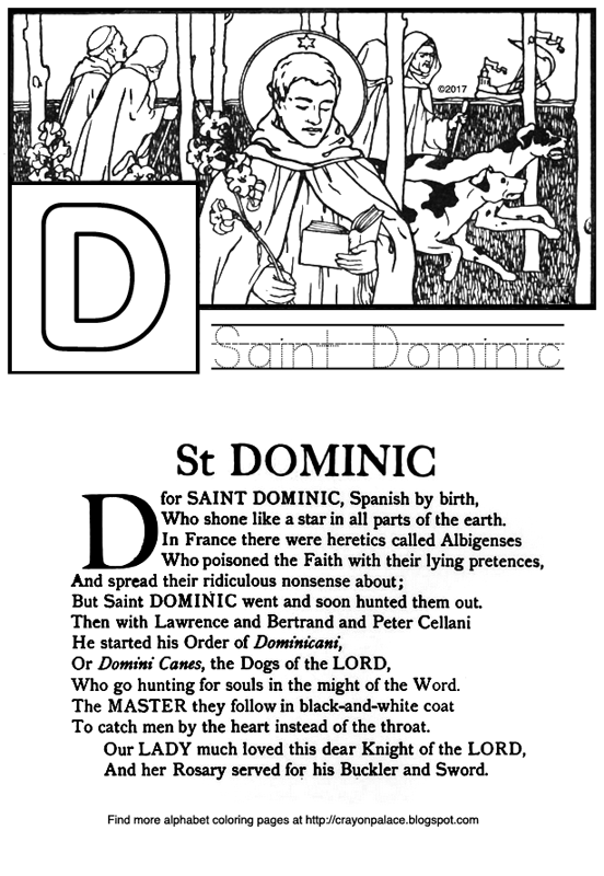 D is for saint dominic alphabet coloring page crayon for Saint dominic savio coloring page