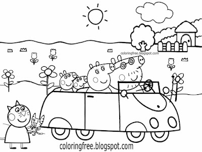 Good things to doodle family car cartoon Peppa Pig printable easy coloring pages for kids to color