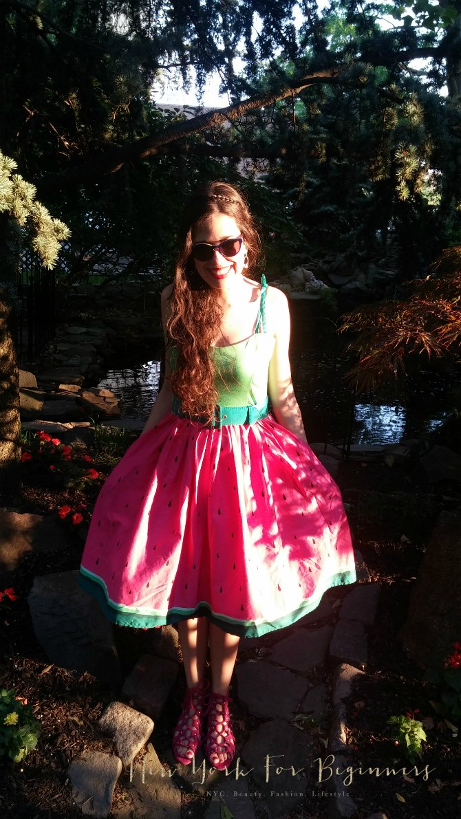 Comfortable rockability fashion: Collectif Watermelon Dress and Aerosoles Middle Ground Sandals