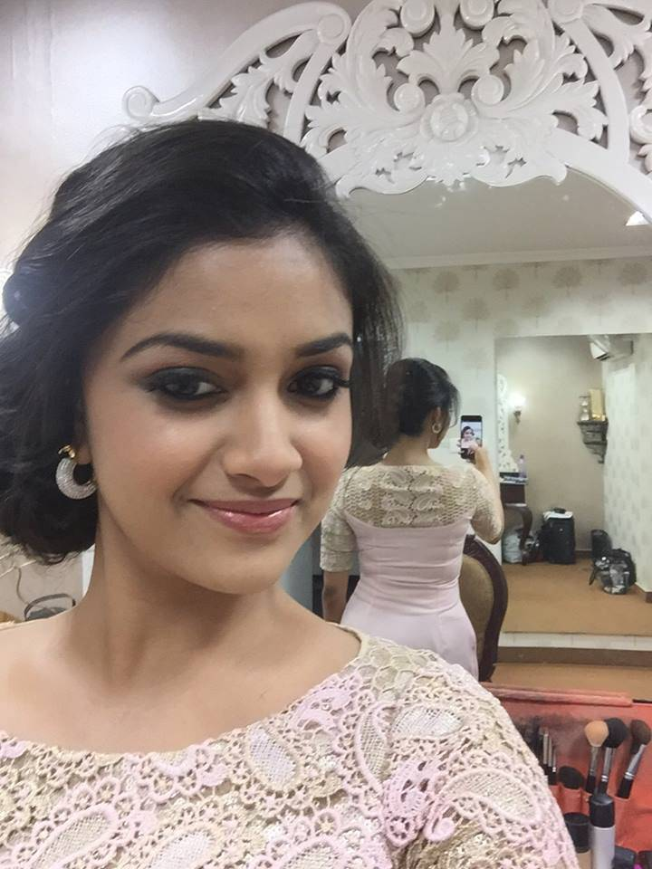 Tollywood Actress Keerthi Suresh Stills In Pink Dress