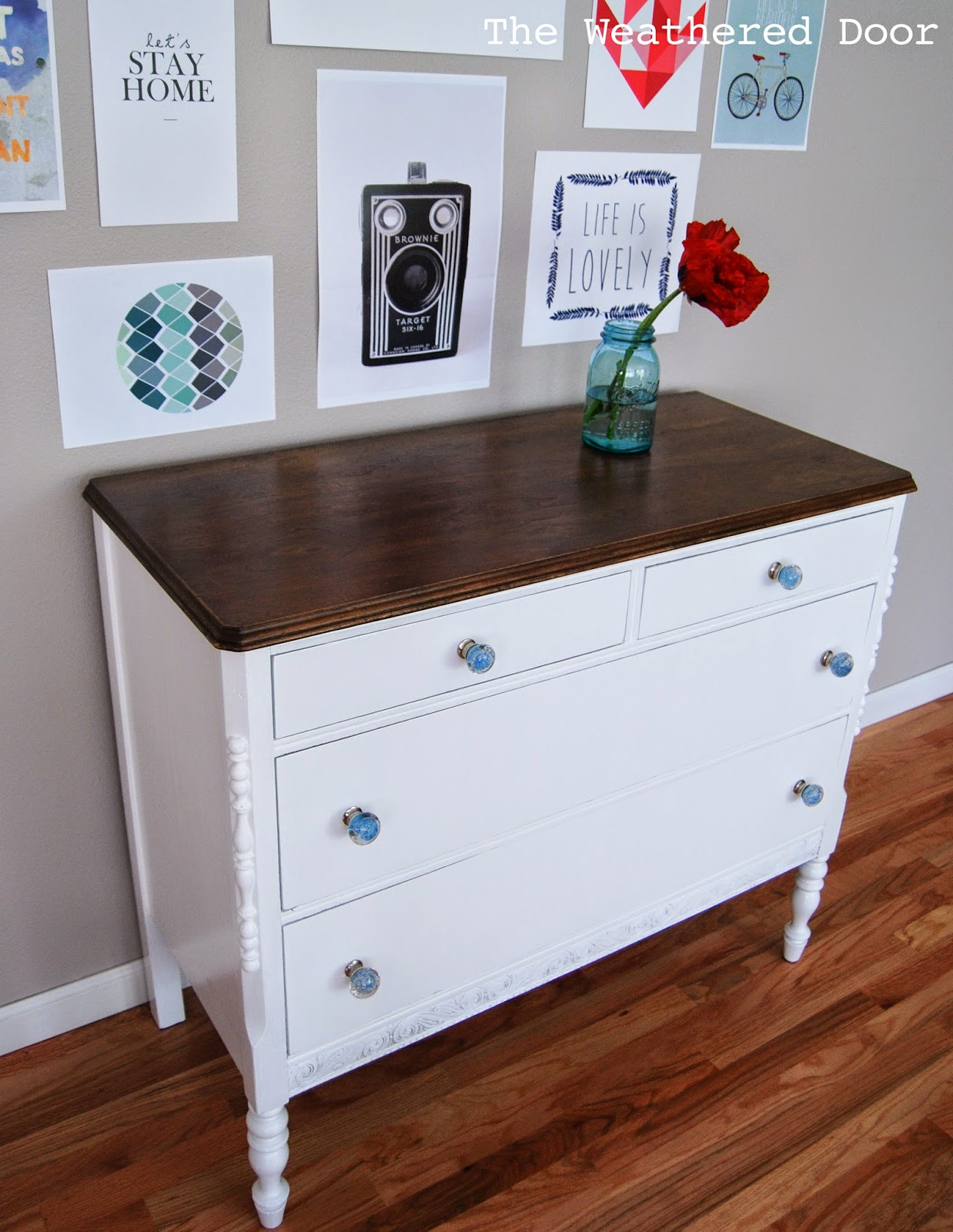 White And Wood Farmhouse Dresser With Blue Gl S The Weathered Door