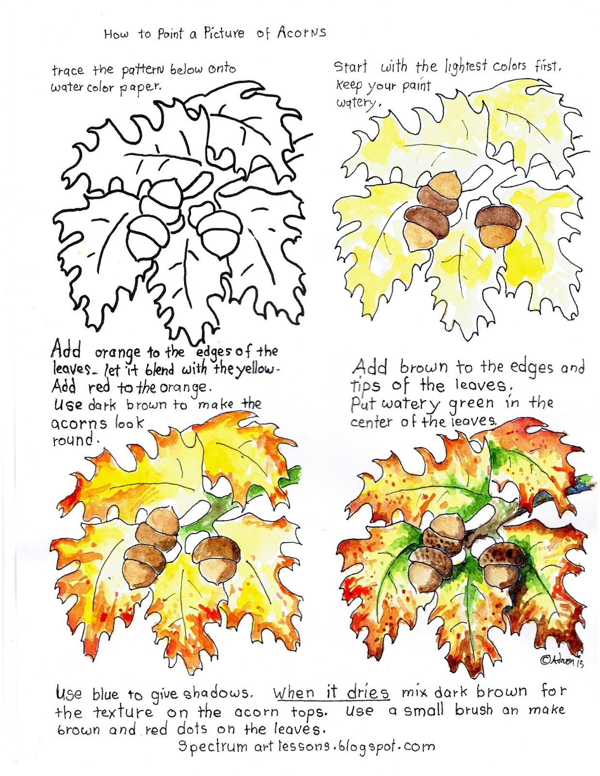 Adron S Art Lesson Plans Printable How To Paint A Picture Of Acorns And Autumn Leaves Worksheet