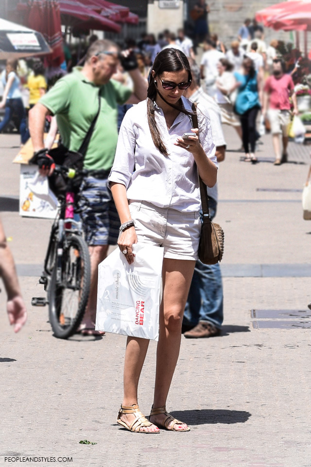 Shorts and cream shirt street style in Zagreb, summer fashion, June 2015. What to wear to work in summer