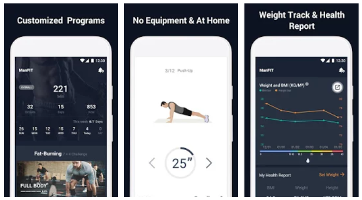 14325743cf9 ManFIT - Workout at Home app has been reviewed by 1050 Users and 877 users  have rated 5 stars. ManFIT - Workout at Home app size varies from device to  ...