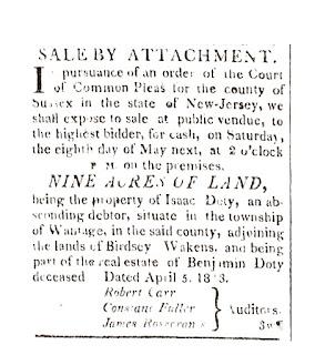 Sale by Attachment Orange County Patriot April 6, 1813