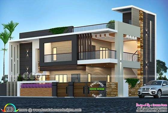 Duplex house front view rendering