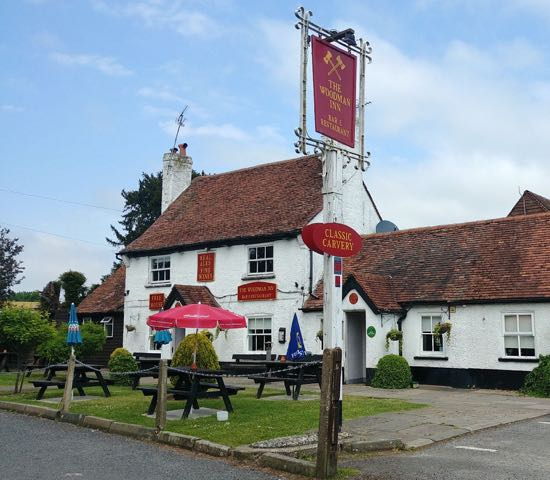 Photograph of The Woodman Inn, Water End, September 2018 Image by the North Mymms History Project, released under Creative Commons