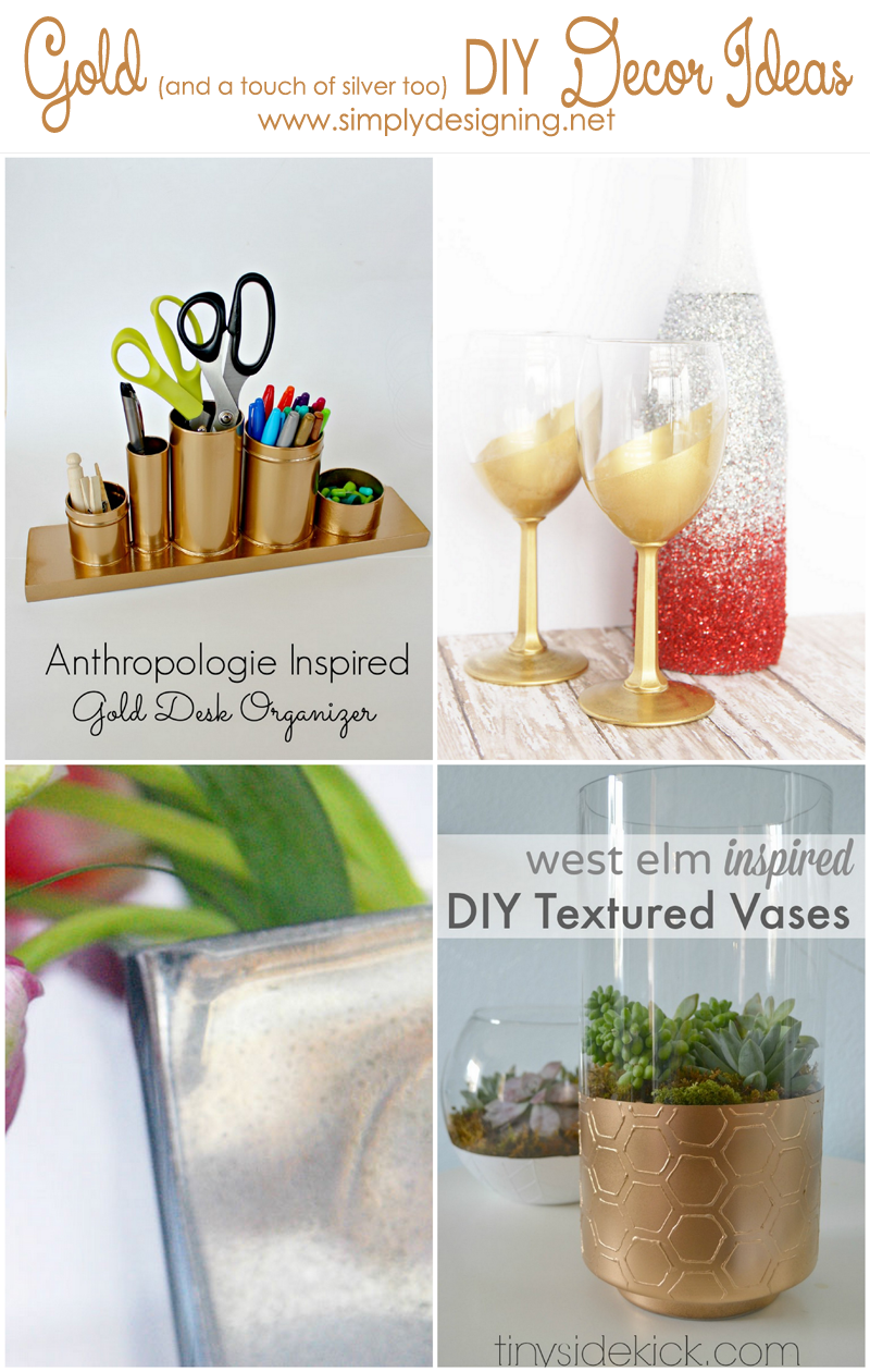 Gold (and a touch of Silver) DIY Decor Ideas | these ideas are so cool! | #gold #silver #decor #diy #crafts