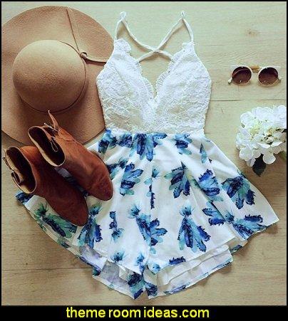 Summer Women Lace Splice V-Neck Strap Jumpsuit High Waist Print Backless Loose Short Jumpsuit at dresslink