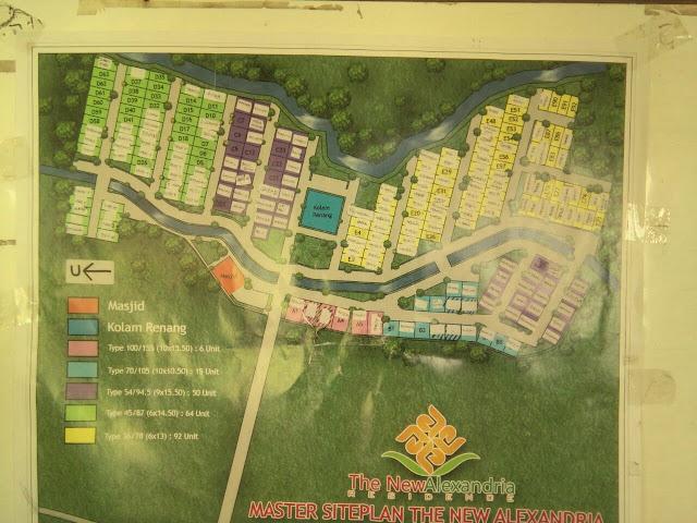 Peta denah perumahan the new alexandria residence murah sistem syariah