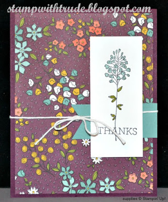 Sale A Bration, Stampin Up, Stamp with Trude, Flowering Fields, Wildflower Fields, designer series paper, thank you card, Tuesday Tutorial