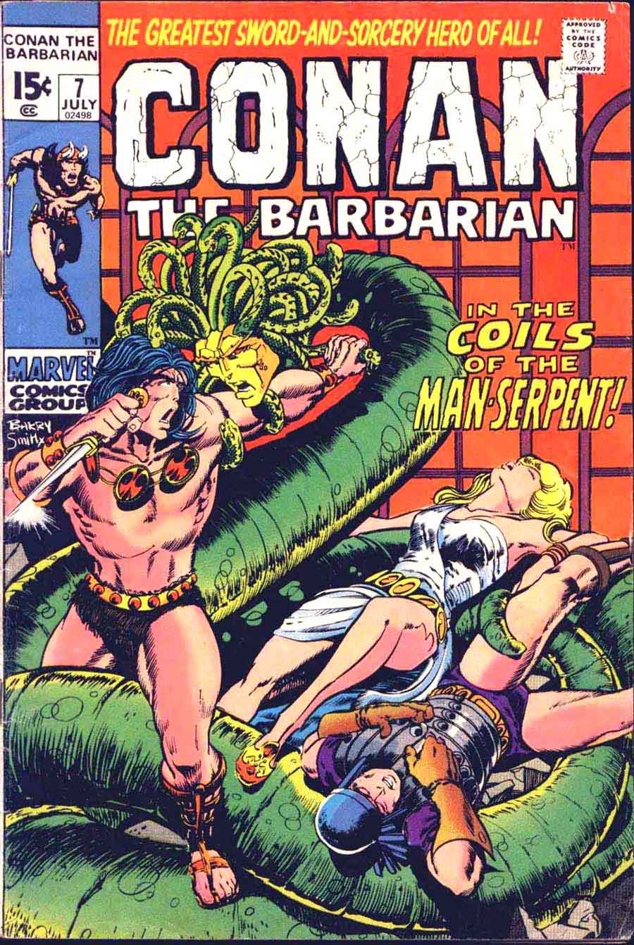 Conan the Barbarian v1 #7 marvel comic book cover art by Barry Windsor Smith