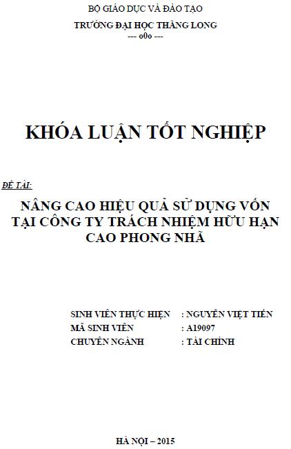 Nâng cao hiệu quả sử dụng vốn tại Công ty TNHH Cao Phong Nhã