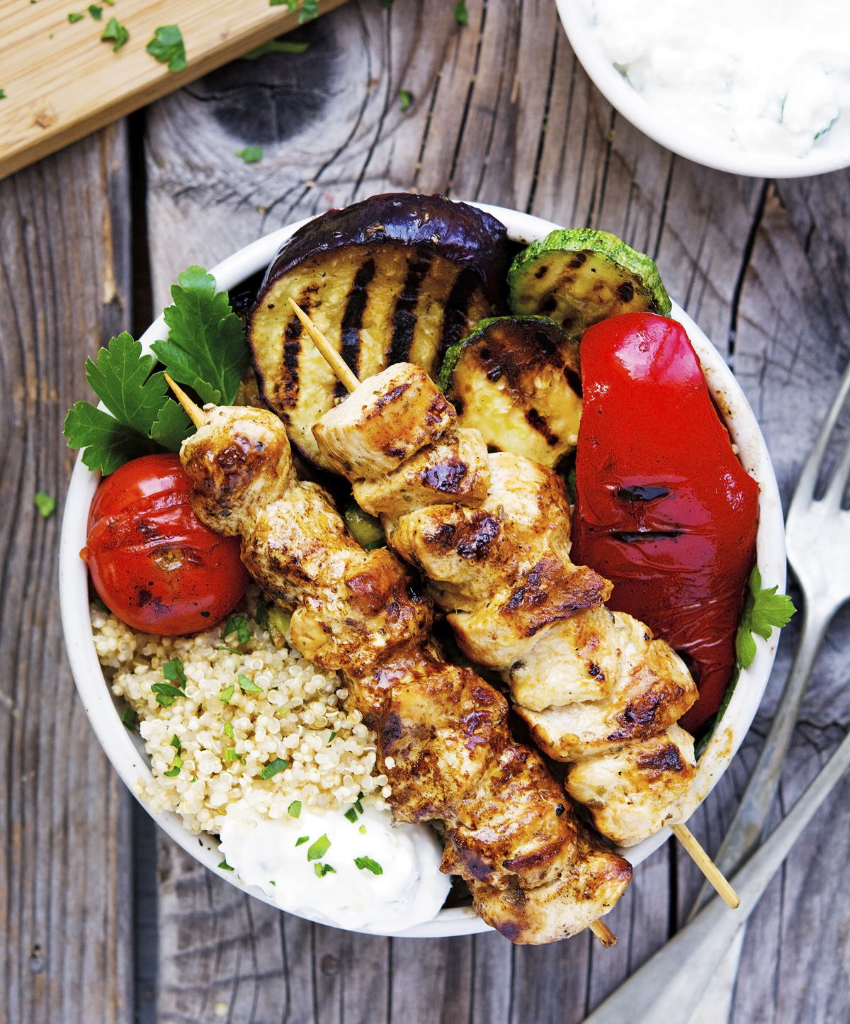 Chicken Souvlaki Grilled Veggie and Quinoa Bowls with Tzatziki-Feta Sauce