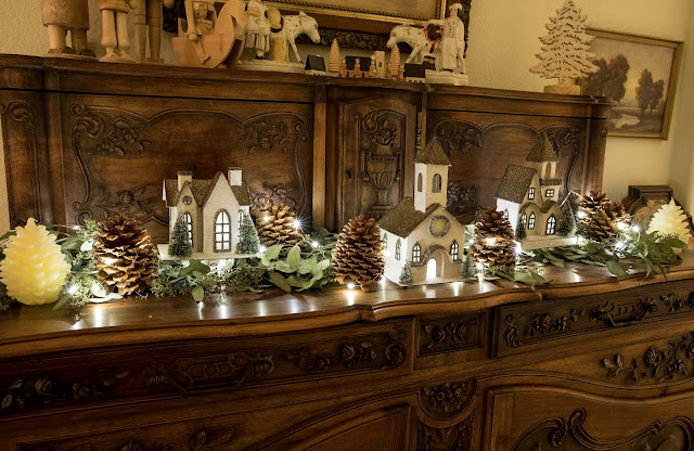 French Christmas decor with putz glitter houses