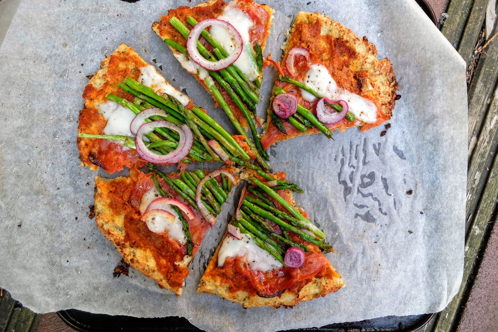 Slices of cauliflower crust pizza