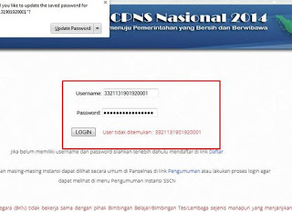 login username dan password di sscn bkn