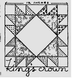 Historical Quilting from Old Newspapers: Kings Crown Quilt