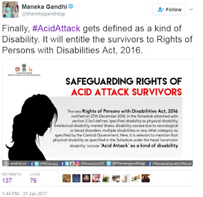 Maneka Gandhi Tweet about acid attack survivor
