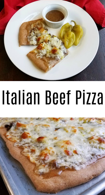 All of the flavors and textures of a delicious Italian beef sandwich in pizza form. It is full of flavor and so much fun to eat!