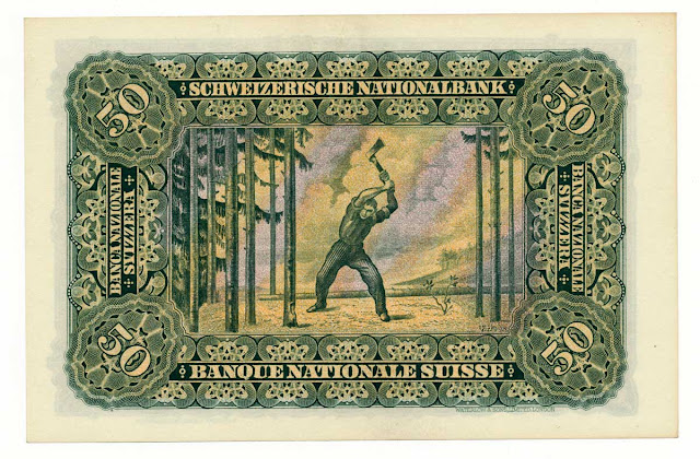Switzerland 50 Franken The Woodcutter painter Ferdinand Hodler