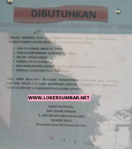 Lowongan Kerja di Sumbar – BMT Mizan Syariah – Karyawan (Penutupan 23-9-2016)