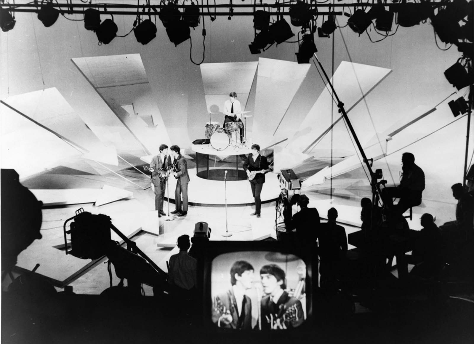 The Beatles rehearse for their second appearance on the Ed Sullivan Show, 1964.