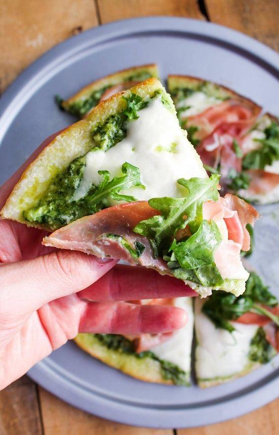 Prosciutto Arugula Cauliflower Crust Pizza