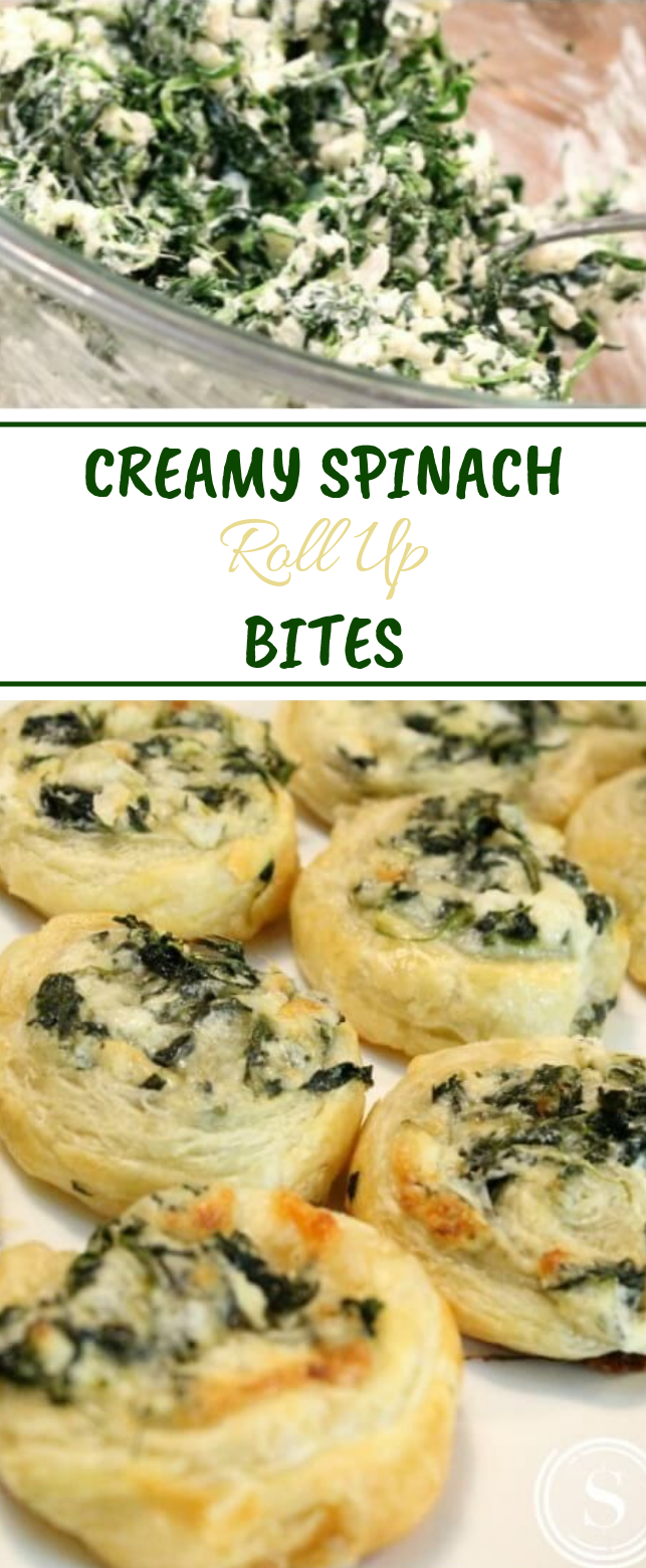 Creamy Spinach Roll Up Bites #vegetarian #appetizers