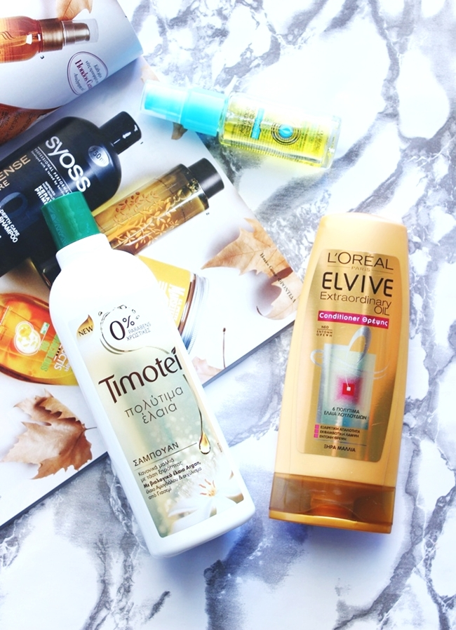 "Haircare products with Precious oils.L'oreal Elvive ""Extraordinary Oil"" conditioner/balzam za kosu.Avon Advance Techniques ""Moroccan argan oil"" leave-in-treatment/tretman bez ispiranja.Timotei ""Precious oils"" shampoo/sampon."