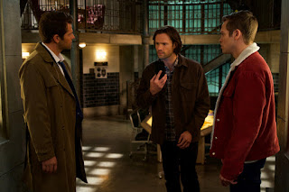 "Misha Collins as Castiel, Jared Padalecki as Sam Winchester, Alexander Calvert as Jack in Supernatural 14x10 ""Nihilism"""
