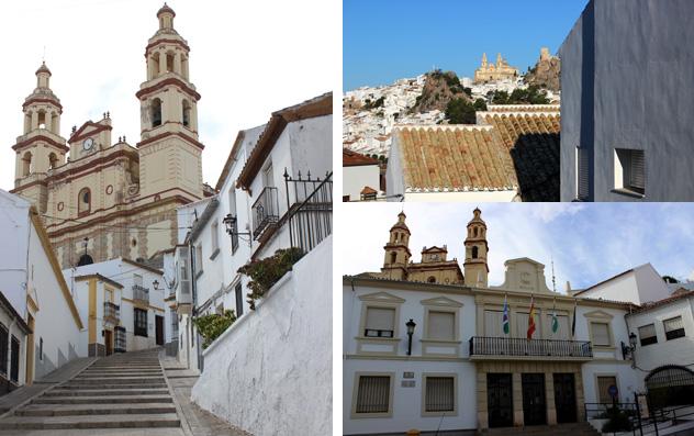 Iglesia Nuestra Señora de la Encarnación (izda.), ayuntamiento de Olvera (abajo, dcha.)