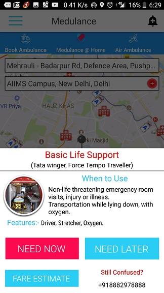 call ambulance app india