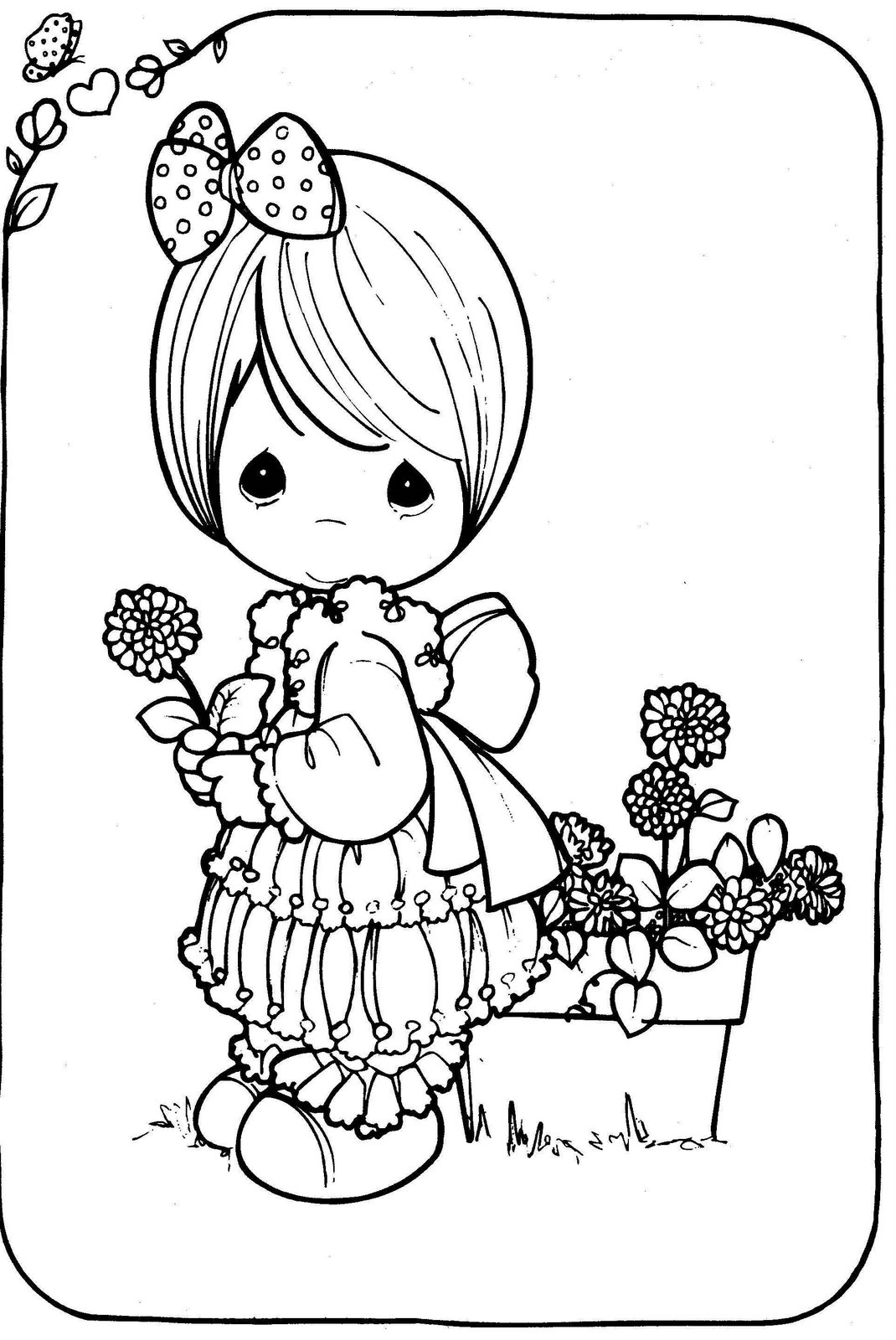 black girl coloring pages - drawing girl precious moments in black and white to color