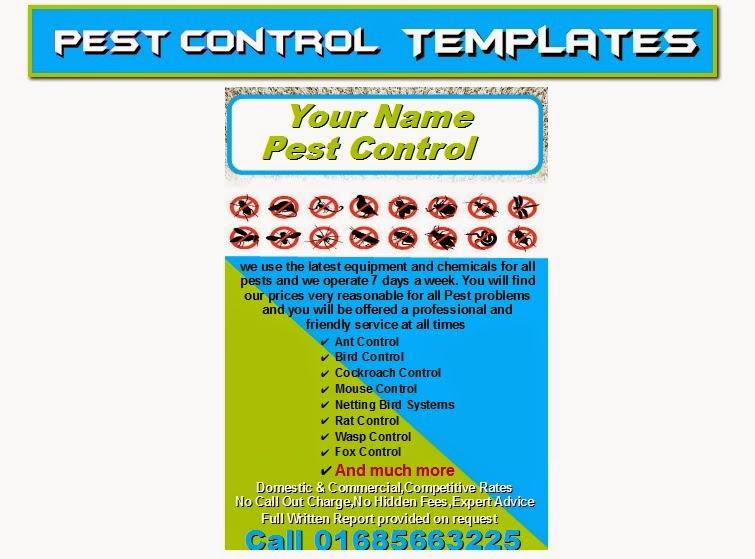 Pest control leaflets flyer business cards business start for Pest management plan template