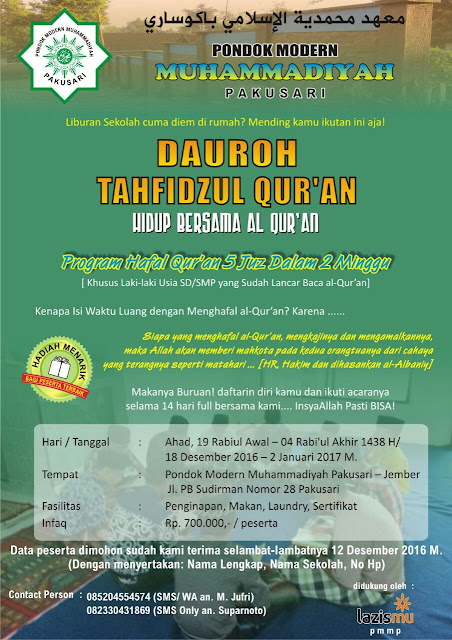 Dauroh Tahfidz Qur'an Pondok Modern Muhammadiyah Pakusari