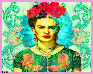 neon colored frida kahlo fabric block