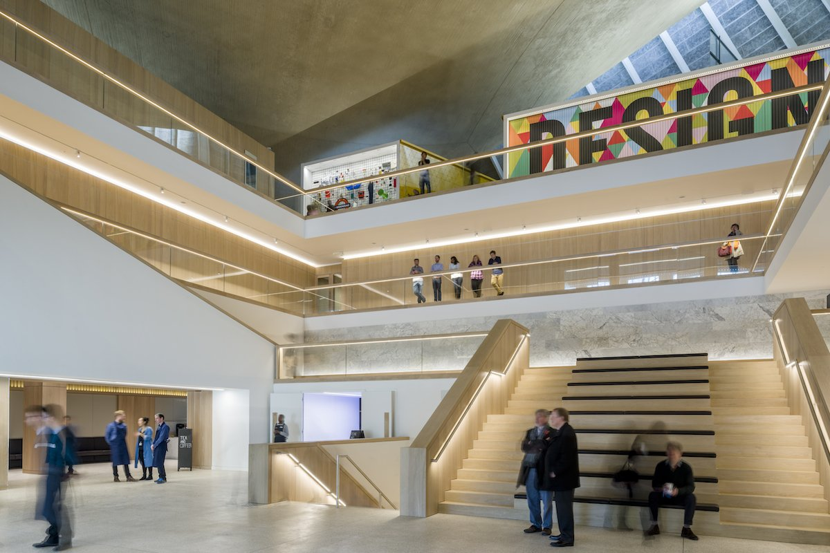 "John Pawson aimed to create ""calm, atmospheric spaces,"" making it easy to explore the museum. The oak staircases have strip LED lights on the handrails and bannisters to add excitement to walking around the space."