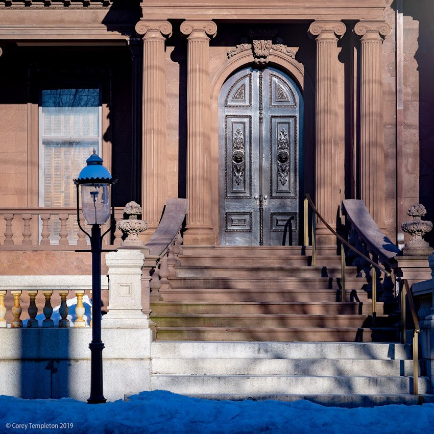 Portland, Maine USA February 2019 photo by Corey Templeton. The (somewhat imposing) entry to the Victoria Mansion on Danforth Street.