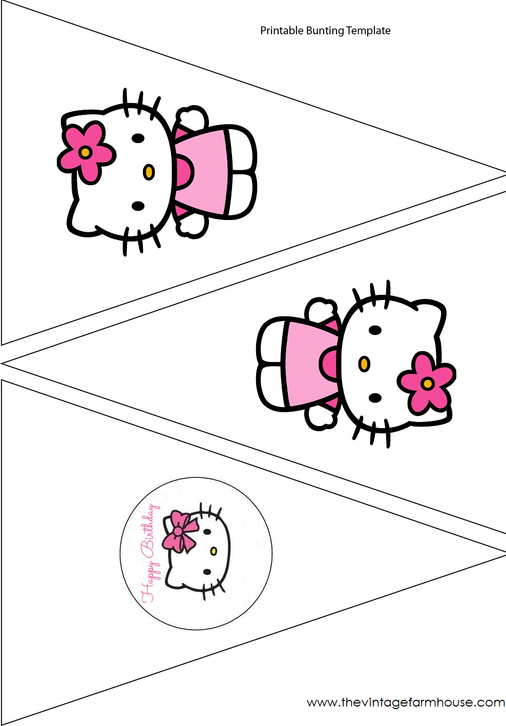 Simple Cute Hello Kitty , Free Printable Banner.