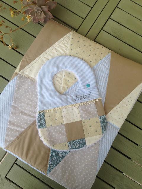 quilt para cuna y babero patchwork