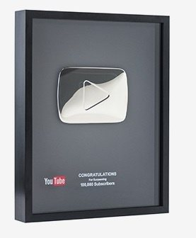 Silver Youtube Play Button