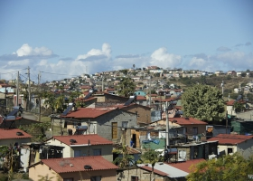 A crowed slum in South Africa.