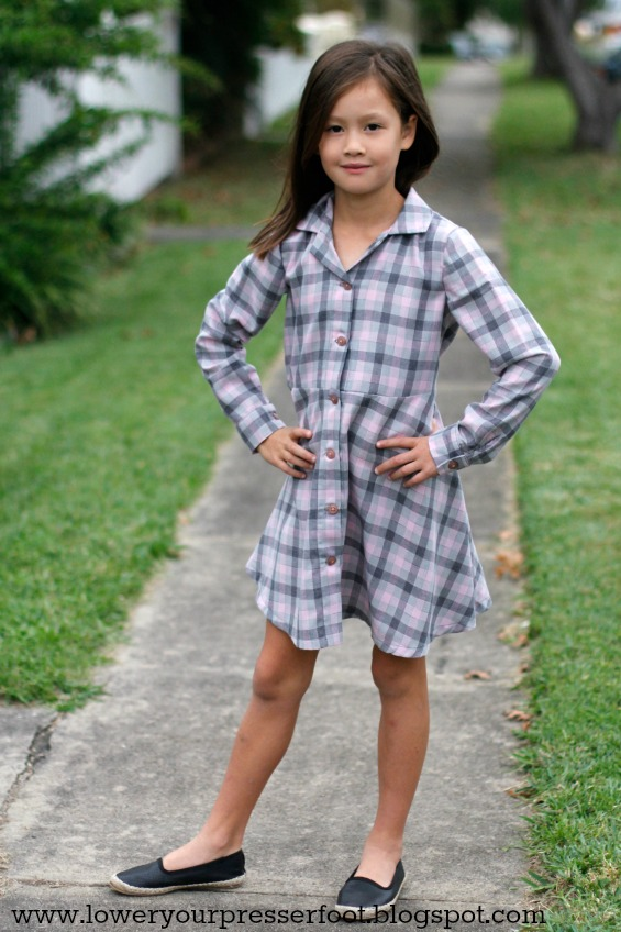 Burda 4/2016 #135 girl's shirt dress in pink and grey plaid www.loweryourpresserfoot.blogspot.com